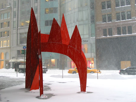 calder sculpture in new york blizzard