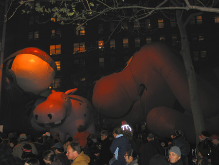 thanksgiving day parade balloons being inflated on central park west