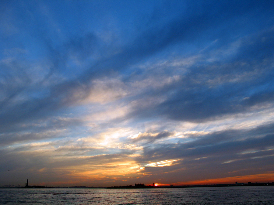 A Sunset over New York Harbor in 2003
