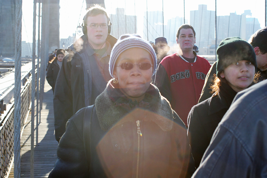 New Yorkers on the Brooklyn Bridge During Transit Strike