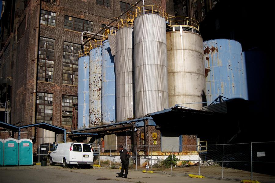 Outside the Domino Sugar Refinery
